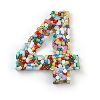 Numéro 4 quatre de pilules de médecine gélules comprimés et blisters isolated on white