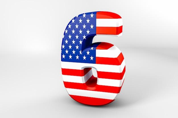 Numéro 6 avec le drapeau américain. rendu 3d - illustration