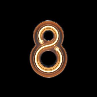 Numéro 8, alphabet fabriqué à partir de néon