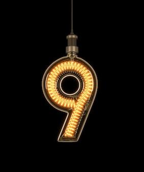 Numéro 9, alphabet fait d'ampoule.