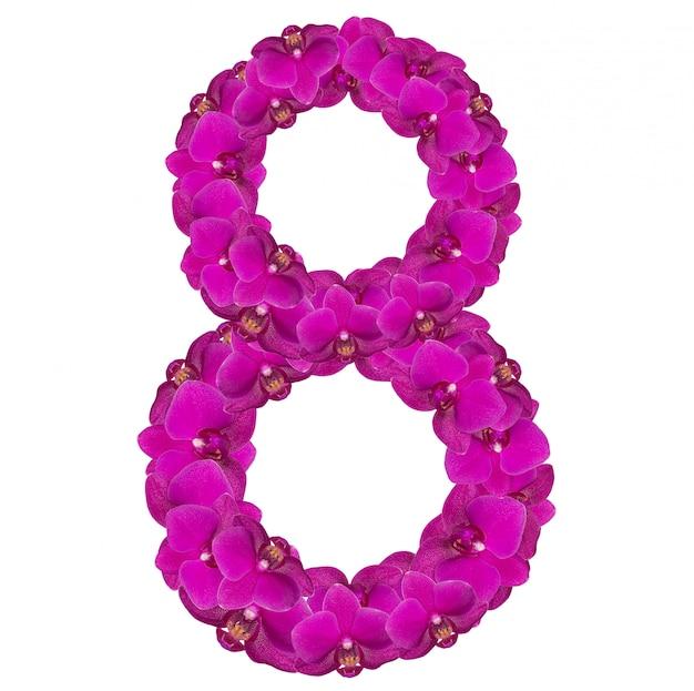 Numéro de l'alphabet huit de fleurs d'orchidées isolé sur blanc