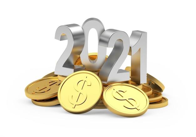 Numéro d'argent 2021 sur une pile de pièces d'un dollar