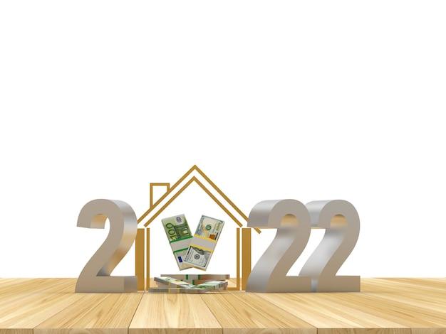Numéro d'argent du nouvel an avec maison et billets en dollars et en euros