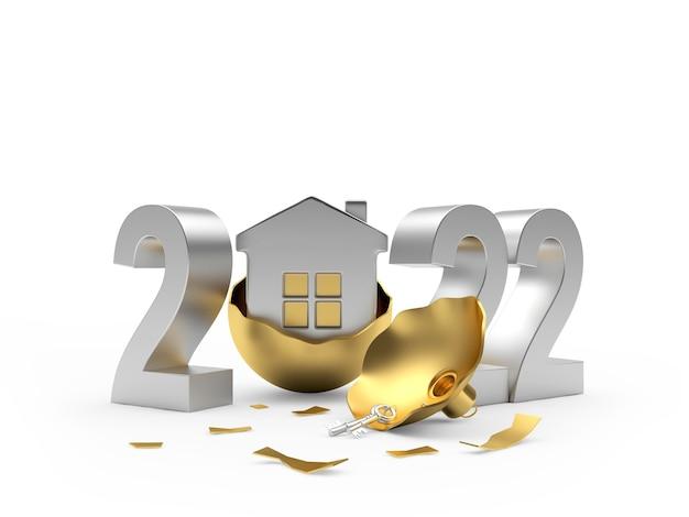 Numéro d'argent du nouvel an avec une maison dans une boule de noël cassée