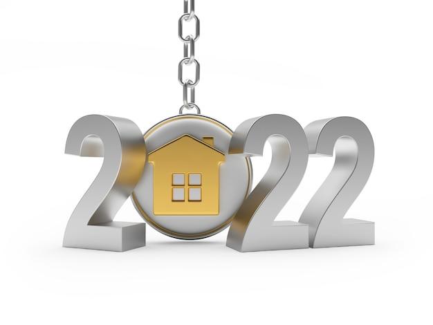 Numéro d'argent du nouvel an et porte-clés avec l'icône de la maison