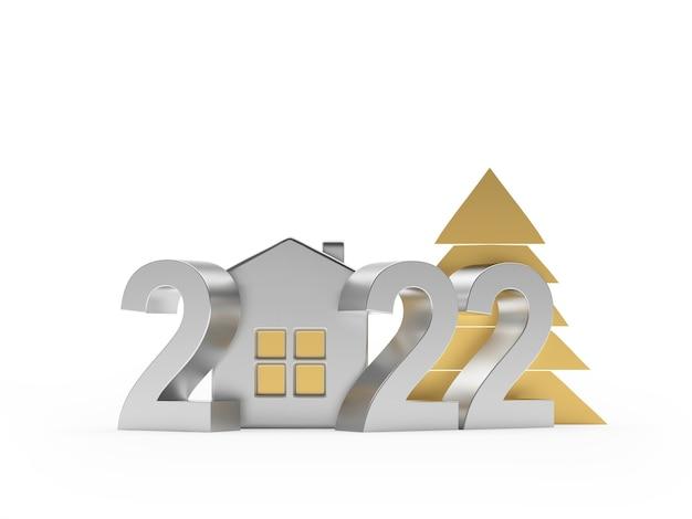 Numéro d'argentnouvel an avec maison et arbre de noël