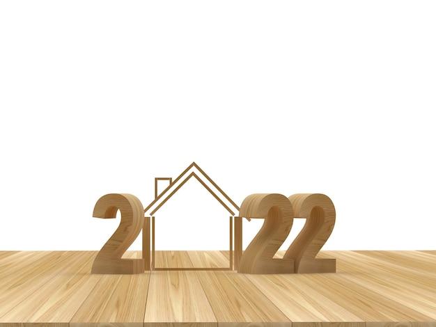 Numéro en bois du nouvel an avec une maison sur une surface en bois illustration 3d