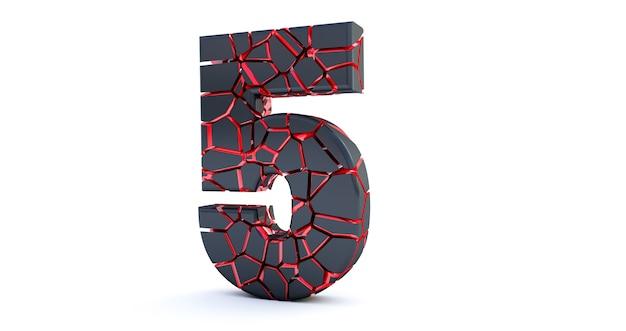 Numéro cassé isolé (numéro 5). fissuré 3d numéro 5 cinq.