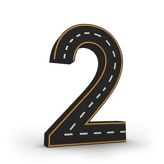 Numéro deux symboles des figures sous la forme d'une route