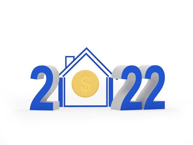 Numéro du nouvel an avec l'icône de la maison et la pièce d'un dollar