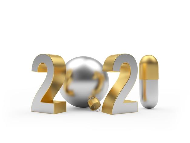 Numéro du nouvel an avec pilule et boule de noël
