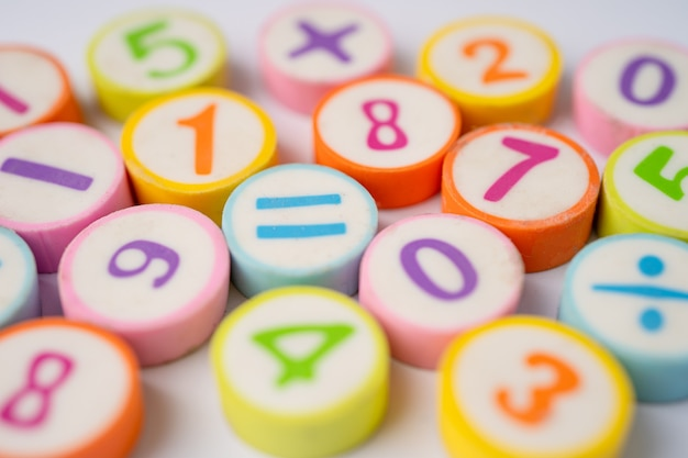 Numéro mathématique coloré sur blanc