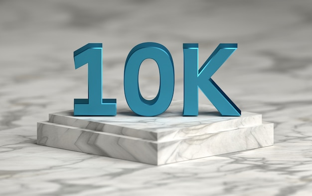 Le numéro de média social 10k aime les abonnés sur le podium