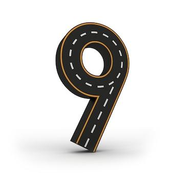 Numéro neuf des symboles des figures sous la forme d'une route