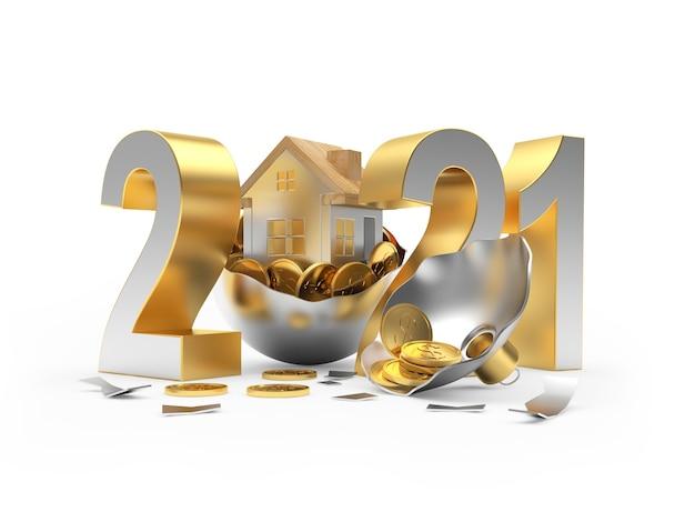 Numéro de nouvel an et icône de la maison