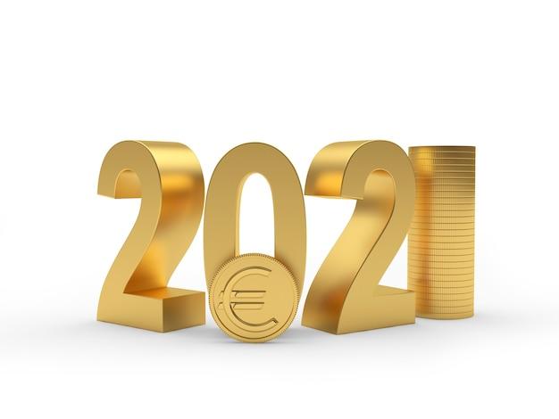 Numéro d'or 2021 avec des pièces en euros dans une pile
