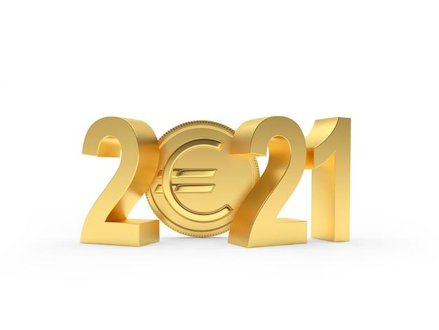 Numéro d'or 2021 avec des pièces en euros