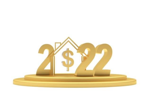 Numéro d'or du nouvel an et une maison avec un signe dollar