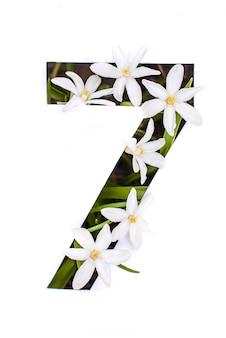 Numéro sept: pochoir blanc avec petites fleurs