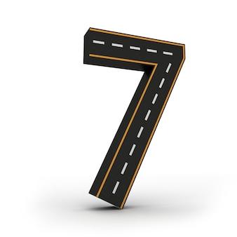 Numéro sept symboles des figures sous la forme d'une route