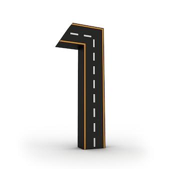 Numéro un des symboles des figures sous la forme d'une route