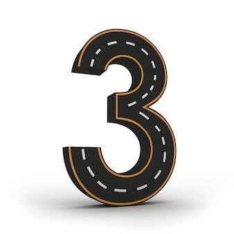 Numéro trois symboles des figures sous la forme d'une route