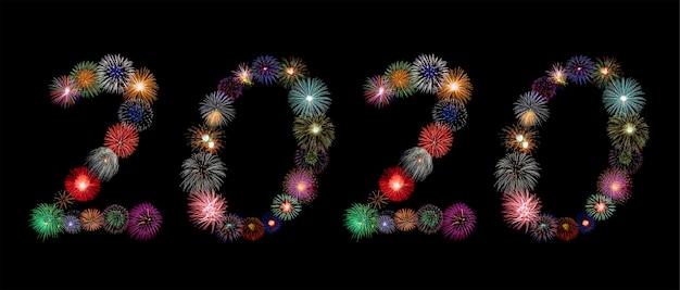Numéros de 2020 en feux d'artifice colorés en chiffres arabes pour la célébration du nouvel an