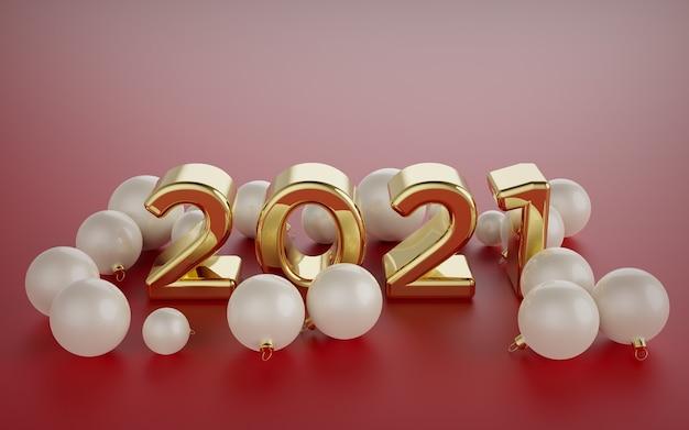 Numéros de bonne année, grands nombres arrondis en or 3d sur fond rouge, avec des boules de noël de couleur crème tout autour.