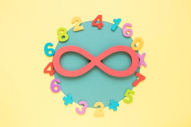 Numéros mathématiques colorés entourant le symbole infini