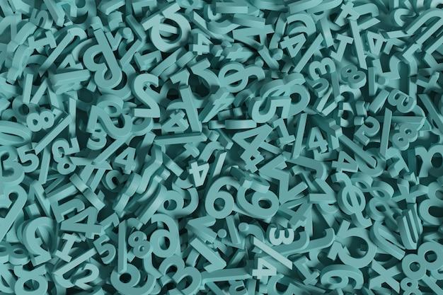 Numéros verts et fond de symboles mathématiques.
