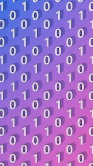 Numéros zéro et 1. concept de code binaire. fond bleu et rose. illustration abstraite, rendu 3d.