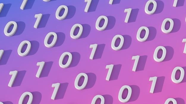 Numéros zéro et 1 concept de code binaire rendu 3d