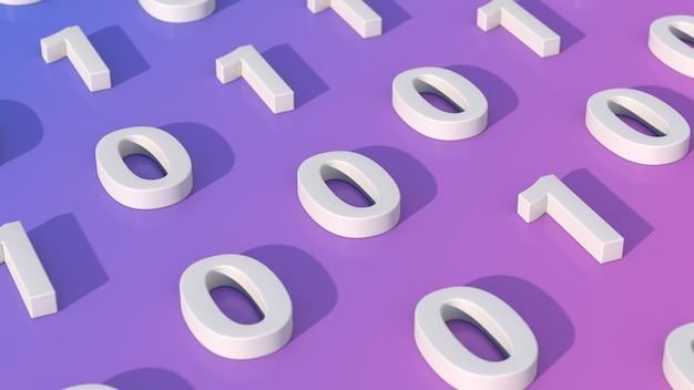 Numéros zéro et un concept de code binaire rendu 3d libre