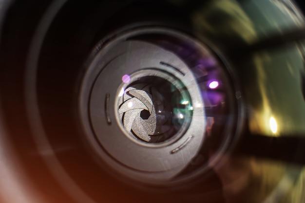 Objectif de la caméra en gros plan