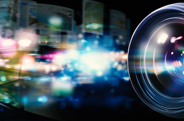 Objectif professionnel de l'appareil photo reflex avec effets de lumière