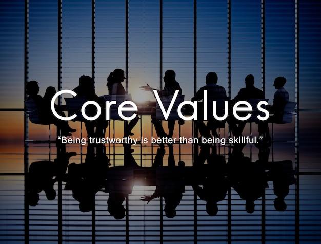 Objectifs de valeurs fondamentales mission business purpose concept