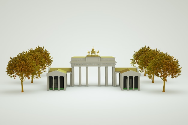Objet 3d de point de repère avec des colonnes et une statue de chevaux au sommet. il y a des arbres près du point de repère. fond isolé blanc. fermer