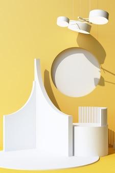 Objet abstrait fond blanc avec podium de forme géométrique pour produit avec ombre sur le mur. concept minimal jaune et blanc. cadre vertical de rendu 3d