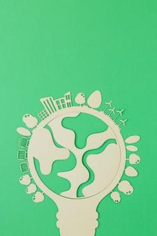 Objet en bois de la journée mondiale de l'environnement plat avec espace copie