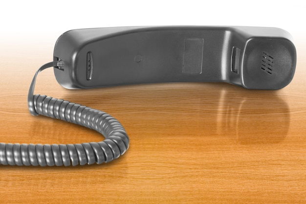 Objet de communication récepteur téléphonique noir avec câble
