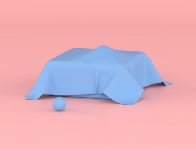 Objet géométrique abstrait, sphère est dans une boîte et recouverte d'une feuille de rides bleues, couleurs pastel, idée minimale, rendu 3d