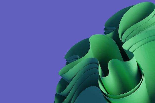 Objet ondulé de rendu 3d vert abstrait sur fond violet fond d'écran objet 3d créatif