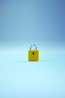 Objet de verrouillage solitaire réaliste 3d de la porte sur un fond bleu isolé. serrure de porte dorée sur fond bleu. le trou de serrure. graphiques 3d