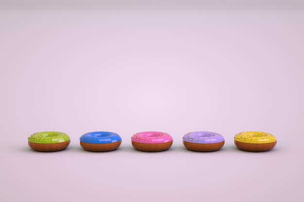 Objets 3d de beignets colorés sur fond blanc isolé. modèles isométriques de beignets multicolores. confiserie, graphisme 3d. donuts se dresse dans une rangée.