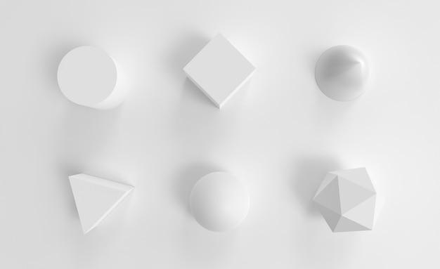 Objets abstraits de géométrie blanche définis sphère de cube de cône et objet de cylindre sur l'avion
