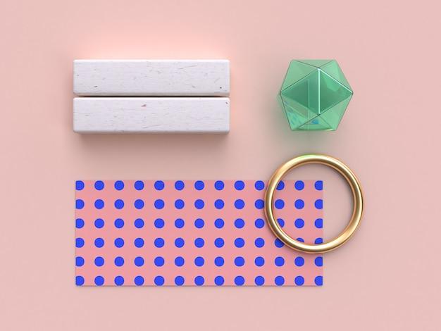 Objets de plat plats géométriques abstraites, bague en or, papier d'emballage