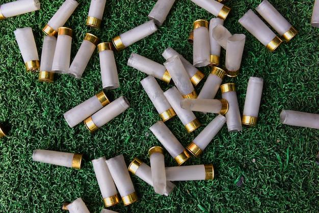 Obus de fusil de chasse sur l'herbe