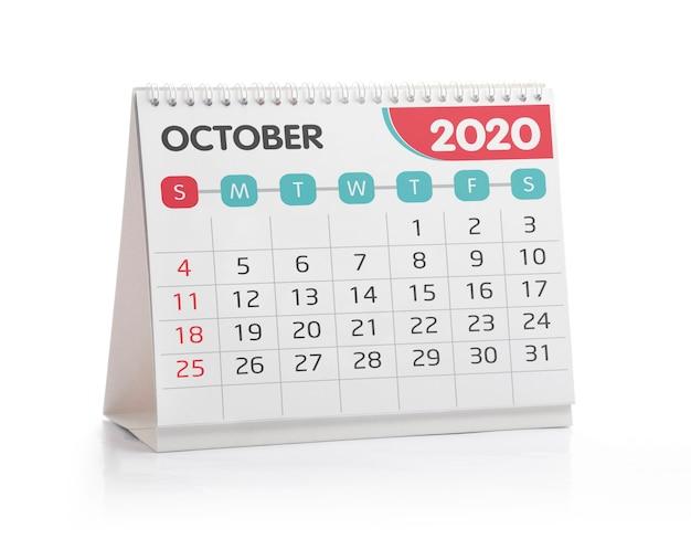 Octobre 2020 calendrier de bureau