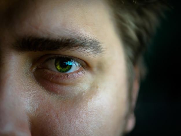 Oeil vert. macro sacs rouges sous les yeux.