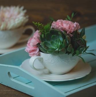 Oeillets et suculents dans une tasse en céramique blanche